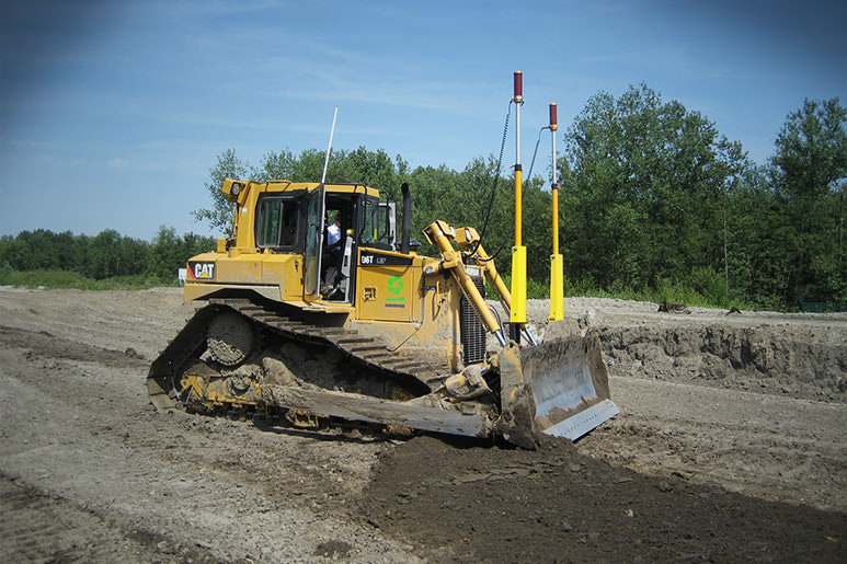 CAT dozer with MOBA 2D leveling system