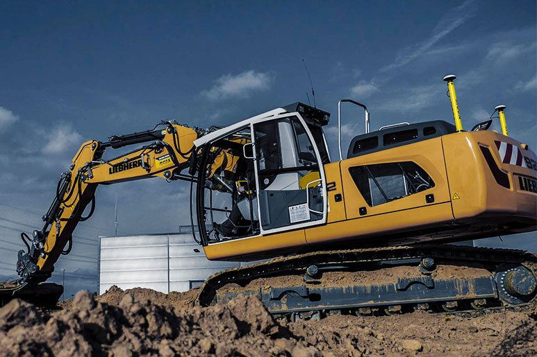 Liebherr exavator with MOBA 3D excavator control system